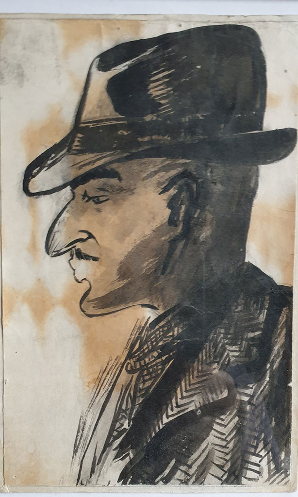 """Self-portrait with a hat"", ink on paper, 1950, Mikhail Verzhbinsky"