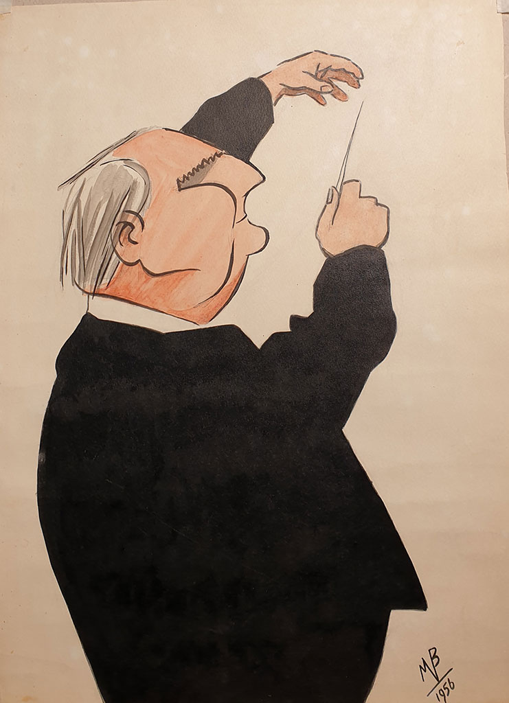 """Conductor Franz Convichny"", ink on paper, 1955, Mikhail Verzhbinsky"