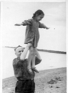 Photo 10. Father with me on the Gulf of Finland, 1954