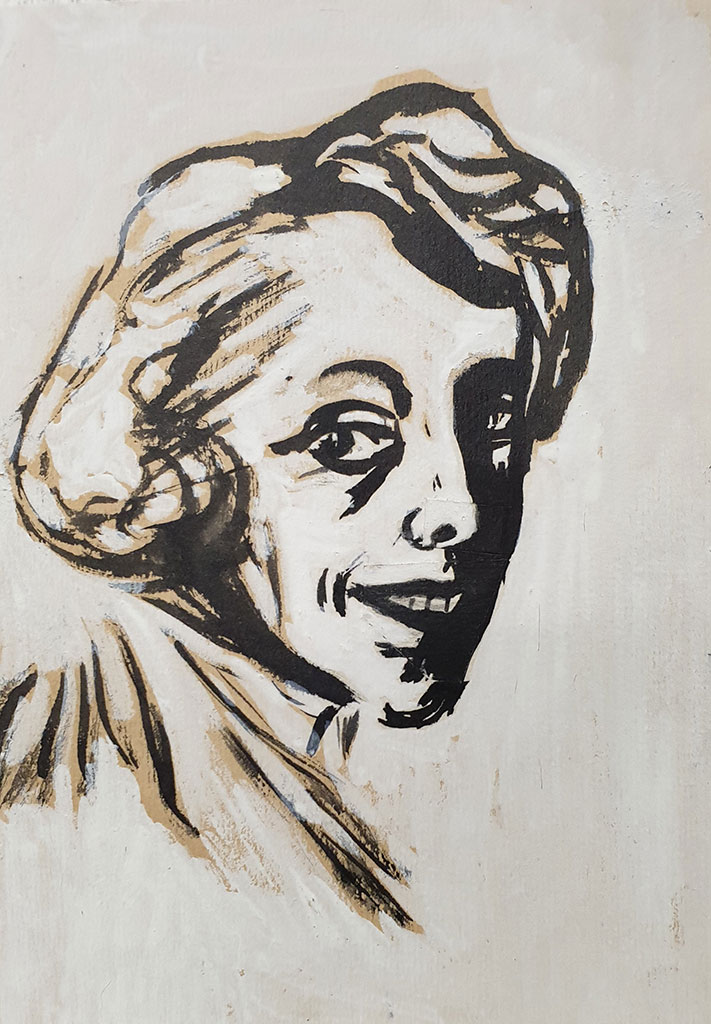 """Portrait of Nora"", ink, whitewash on paper, 1950, Mikhail Verzhbinsky"