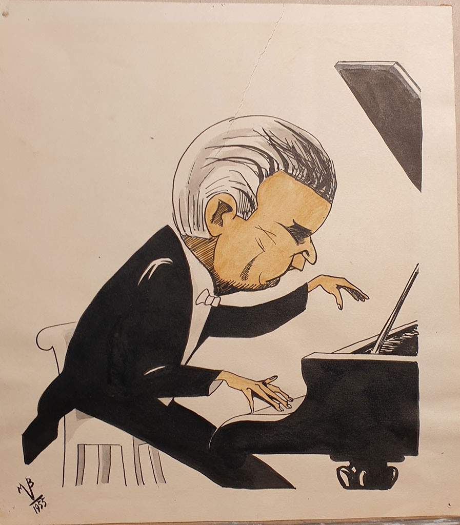 """Pianist Professor Pavel Serebryakov"", ink on paper, 1955, Mikhail Verzhbinsky"