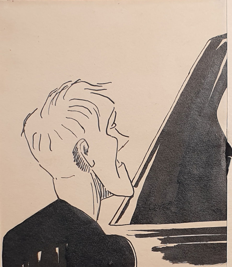 """Pianist Svyatoslav Richter"", ink on paper, 1955, Mikhail Verzhbinsky"