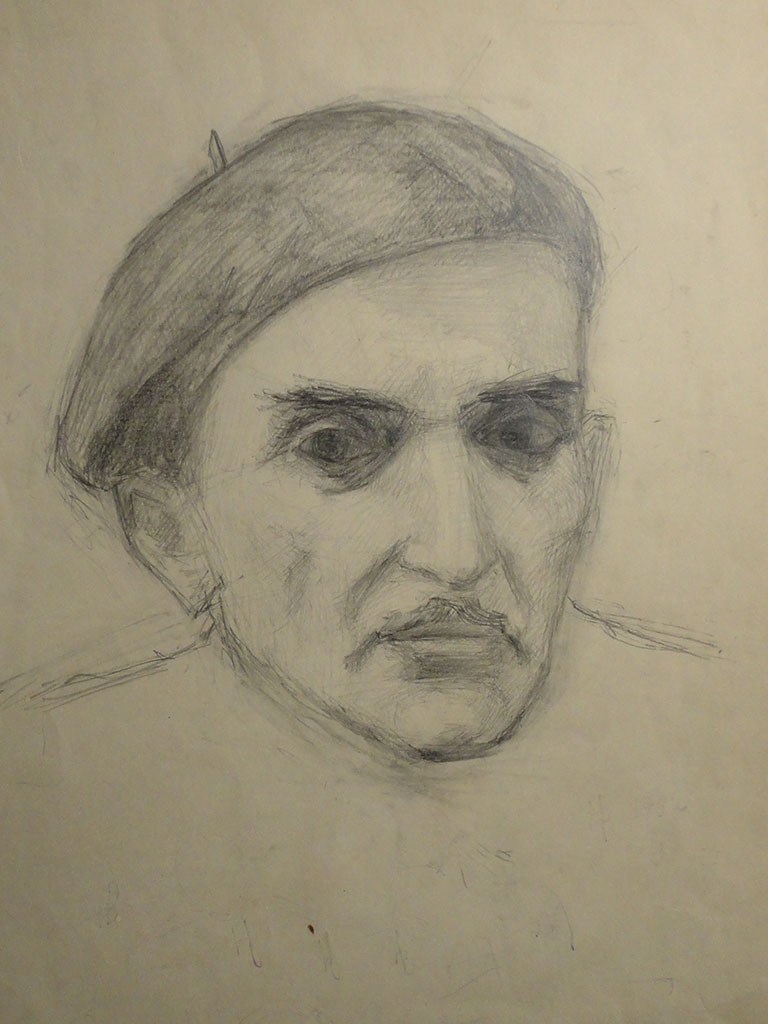 "Photo 19. ""Portrait of the father"", pencil on paper, 1961-62, Nina Werzhbinskaya-Rabinovich"
