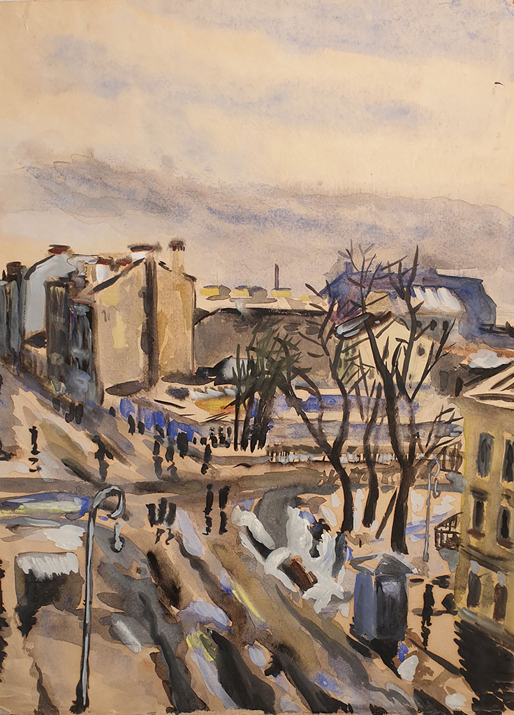 """Vasilievsky Ostrov. Corner of Bolshoi Prospect and the 4th line"", gouache on paper, 1950, Mikhail Verzhbinsky"