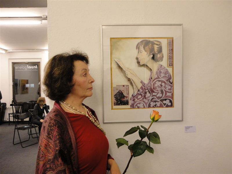 Exhibition opening, painter and her picture