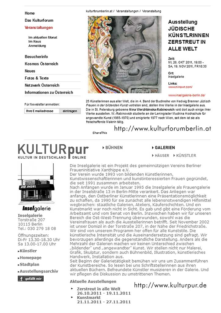 "Information of the Austrian Cultural Forum Berlin about the exhibition ""Scattered All Over The World"" Welt. Jüdische Malerinnen zu Gast in Inselgalerie"""