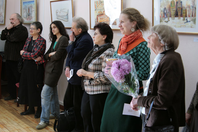 "Irina Karasik, Alexander Nosow, Juliy Karasik, Natalia Kopman and  others at the opening of the exhibition ""Eternity"""