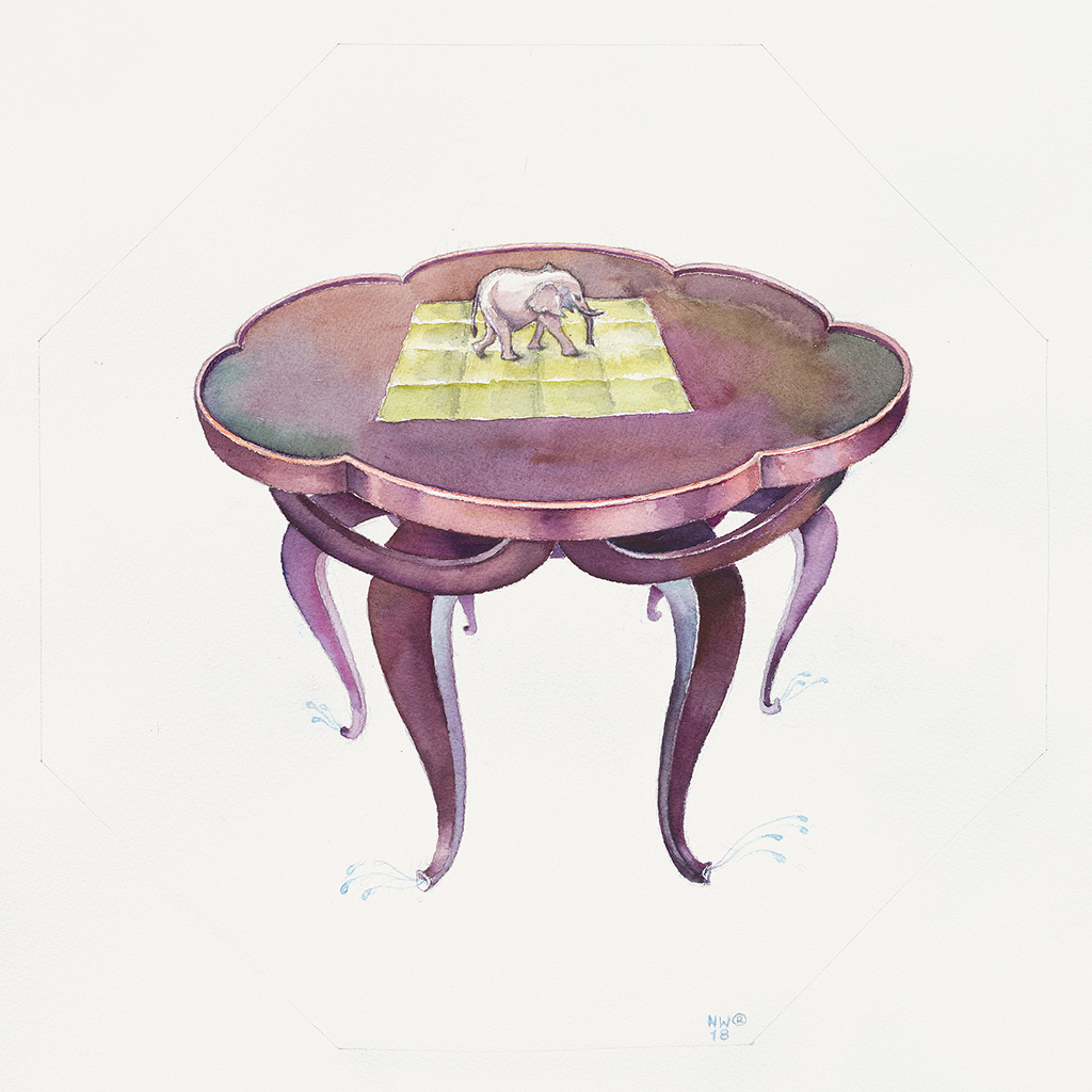 "2018, Watercolor on paper, 50 x 50 cm, ""Elefantenrüsseltisch (Elephant Trunk Table) with six table legs  based on a sketch  by Adolf Loos (1870-1930)"", Nina Werzbinskaja-Rabinowich"